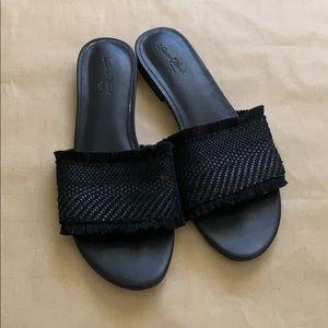 ⋯ Boho Slide Sandals with Fringe